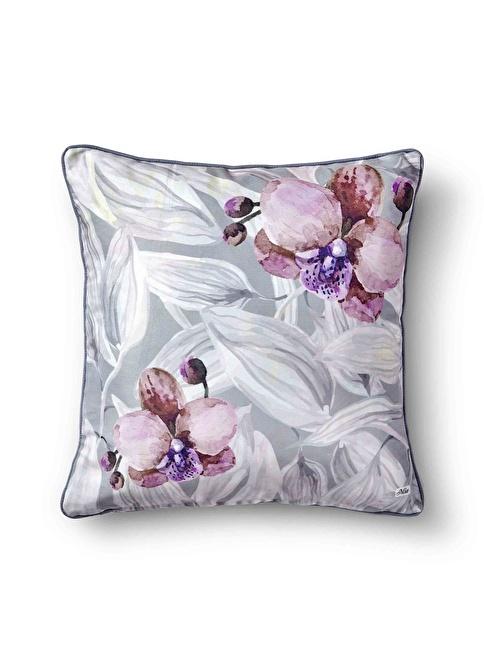The Mia Yaprak Yastık -Gri Beyaz Çiçekli 50 x 50cm Beyaz